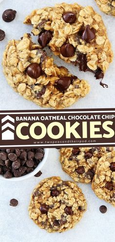 Treat yourself with these Banana Oatmeal Chocolate Chip Cookies! These easy Christmas sweets will remind you of banana bread but in cookie form. You get that little hint of banana with the chewy… More Banana Oatmeal Chocolate Chip Cookies, Chocolate Chip Recipes, Chocolate Desserts, Cookie Exchange Party, Easy Holiday Recipes, Christmas Sweets, Sweet Desserts, Holiday Baking, Cookie Recipes