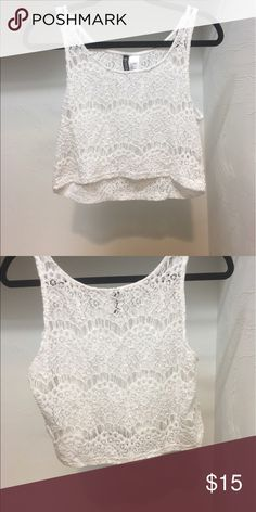 69739586fa0 Summery Lace Top ☀ This white lace crop Top is perfect for slipping over a  bralette and heading out in either day or night this season.