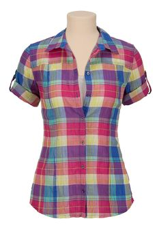 Bright plaid print short sleeve button down shirt available at Maurices Blouse Styles, Blouse Designs, African Fashion Dresses, Fashion Outfits, Western Dresses For Girl, African Shirts, Work Attire, Ladies Dress Design, Tartan Shirt