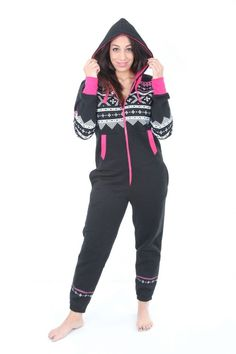 fe99bc39d5 UNISEX WOMENS MENS BLACK PINK AZTEC PRINT ADULT ONESIE ALL IN ONE PIECE  SUIT One Piece