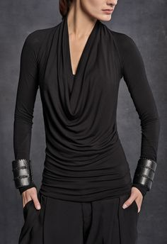Long-sleeve draped cowl-neck top in stretch jersey. Additional Information 96% VISCOSE 4% ELASTANE Made of Italian materials Made in NYC Care Hand wash or organ