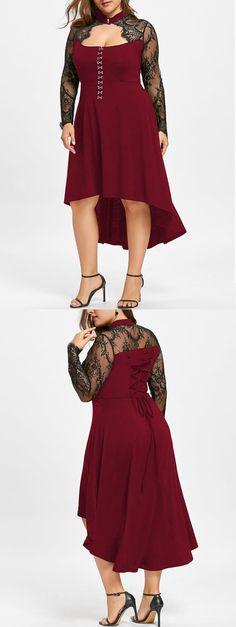 $14.88,Plus Size Lace Up Dip Hem Keyhole Dress - Wine Red 3Xl | Rosewholesale,rosewholesale.com,rosewholesale clothes,rosewholesale.com clothing,rosewholesale plus size,rosewholesale dress,rosewholesale dress plus size,rosewholesale vintage,rosewholesale lace dress,plus size,wine red,dress,lace up,lace,dresses | #rosewholesale #dresses #plussize #lace