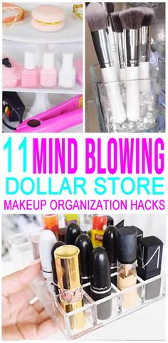 COOLEST Dollar Store HACKS for the best makeup organization. Tidy up your makeup. - - COOLEST Dollar Store HACKS for the best makeup organization. Tidy up your makeup collection with these Dollar Tree DIY craft projects that are easy, s. Organisation Hacks, Makeup Organizing Hacks, Makeup Storage Hacks, Diy Organization, Storage Ideas, Craft Storage, Organizing Ideas, Storage Solutions, Storage Baskets
