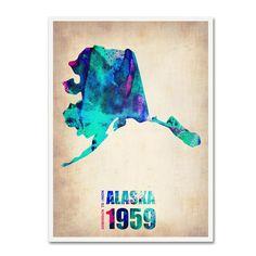 Trademark Fine Art Naxart 'Alaska Watercolor Map' Canvas Art