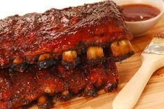 Delicious marinated spareribs baked in oven.Your family think they are eating out! Ribs On Grill, Bbq Ribs, Pork Ribs, Rib Recipes, Great Recipes, Cooking Recipes, Favorite Recipes, Venison Recipes, Pasta Recipes