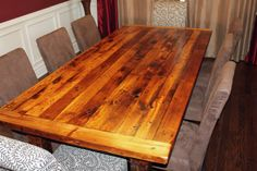 rustic reclaimed pine dining room table. looks great. gives character and warmth.