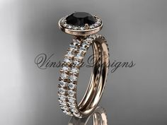 14k rose gold diamond engagement ring, wedding band, engagement set, Black Diamond VD10082S