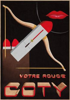 Vintage Poster - Coty- lipstick - rouge  - red 1938