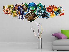 Skylanders wall sticker ... Boy Girl Bedroom, Boy Room, Wall Decal Sticker, Vinyl Wall Decals, Attic Bedroom Decor, Bedroom Ideas, Skylanders, Super Party, Kids Rooms