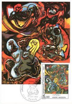 Timbre : 1984 La Pythie ANDRÉ MASSON | WikiTimbres