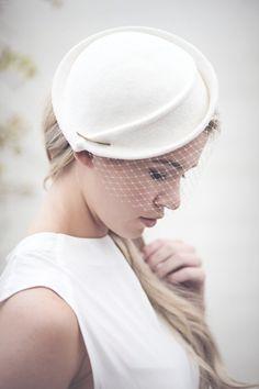 Wedding Birdcage Veil Hat, Off White Felt Bridal Hat, Percher, Fascinate - Morven - Wedding ideas wedding veil photography Millinery Hats, Fascinator Hats, Bridal Fascinator, Hair Fascinators, Shade Card, Head Band, Occasion Hats, Bridal Hat, Wedding Veils