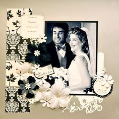 Our Wedding - Scrapbook.com  Love the layout..background page could be your color (red, blue, green etc) and the flowers black and white like on this one...also white paper doilies make great items for embellishment