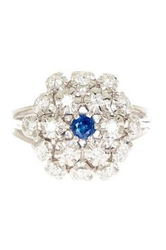 14K White Gold Diamond & Sapphire Cluster Ring... And I do love snowflakes!