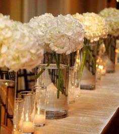 Centerpieces and candle light.
