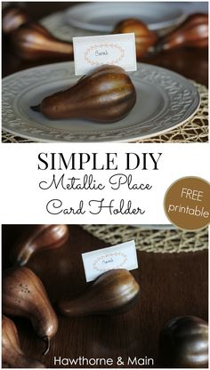 These Simple DIY Metallic Place Card Holders are the perfect touch to any party or get together.  They only take a few minutes to make too!!