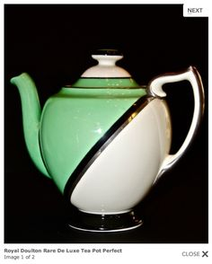 Doulton deco: De Luxe tea pot by Robert Allen, V1284, RA959, c1932 (pattern). Green colourway - green, black and platinum geometric design with black highlights and platinum trim. Premium range in 1930s.