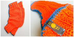 knitted & crochet legwarmer  orange wool / blue cotton yarn