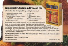 Impossible Broccoli Pie Bisquick vintage recipe. This is in my family's heirloom recipe book.