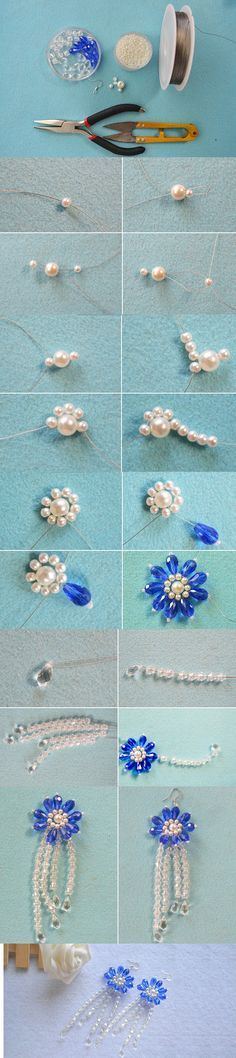 How to Make a Pair of Handmade Beaded Flower Earrings with Beads Bead Jewellery, Beaded Jewelry, Jewelery, Beaded Necklace, Beaded Bracelets, Bead Earrings, Flower Earrings, Earring Tutorial, Homemade Jewelry