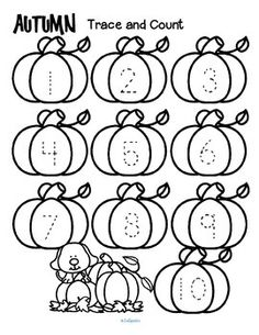 Fall trace and count FREE Here are three fall-themed tracing and counting pages for early learners. Count the sets, recognize and trace the numbers, add extra details and color if desired. If you find these pages useful, I would LOVE some feedback! Numbers Preschool, Preschool Lessons, Preschool Classroom, Preschool Worksheets, Preschool Learning, Kindergarten Math, Teaching Math, Learning Activities, Autumn Activities