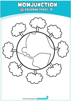 The Earth Surrounded By Ring Of Trees 16 Coloring Page Happy Earth, Free Preschool, Earth Day, Coloring Pages, Trees, Education, Recycling, Image, Facebook