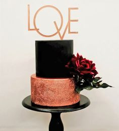 Black wedding cake with copper tier by Mad Batter by Aashna on satinice.com!