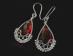Passion red briolette wire wrapped earrings