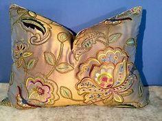 "Designers Guild ""Boleyn Peridot"" Embroidered Silk Scalamandre Back Pillow | eBay"