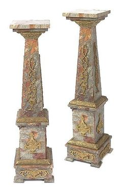 A pair of marble and gilt bronze pedestals