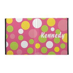 Candy Polka Dots iPad Case in pink, lime green, yellow and white. May also be customized with a monogram. www.gem-ann.com (Zazzle store)