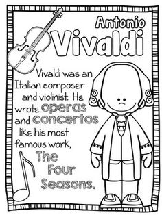 Baroque Composers Coloring and Fact Sheets Classical Music Composers, Baroque Composers, Piano Lessons, Music Lessons, Compositor Musical, Ingles Kids, Music Lesson Plans, Music Worksheets, Primary Music