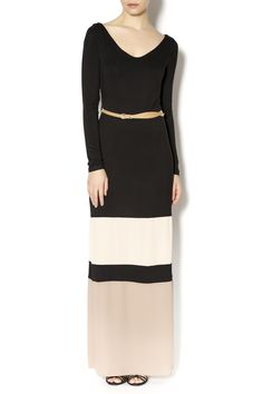 Long sleeve black, tan and mocha maxi dress with leather belt.     	    Color Block Maxi by Double Zero. Clothing - Dresses - Maxi Naples, Florida