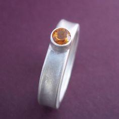 Modern Citrine Ring .Sterling Silver  November by LunasaDesigns