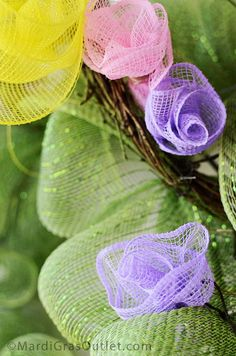 Party Ideas by Mardi Gras Outlet: Spring Wreath with Deco Mesh Flowers Tutorial