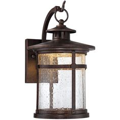 """Franklin Iron Works Callaway Rustic Bronze 11"""" High LED Outdoor Wall... ($100) ❤ liked on Polyvore featuring home, outdoors, outdoor lighting, brown, bronze lantern, franklin iron works, bronze outdoor lighting, outdoor yard lights and franklin iron works outdoor lighting"""