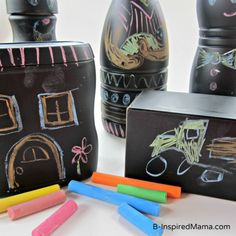 How do you craft with recyclables? Check what a little chalkboard paint can do! A perfect kids' craft for Earth Day, too.  B-InspiredMama.com