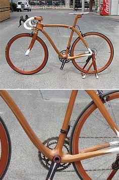 Sueshiro Sano :: Beautiful mahogany wood bike..