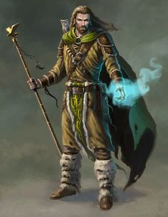 Druid, long hair with beard, ranger, leaf warrior, concept art fantasy…
