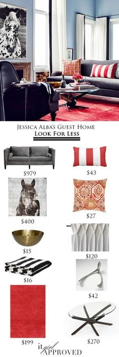 Jessica Alba's guestroom look for less on it girl approved!   Home Decor || Jessica Alba || Look For Less || Home Tour || Living Room || Budget Style