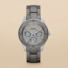 We love the mix of boyfriend-inspired design and ultra-feminine detailing in our classic Stella watch. A grey satin dial adds elegance to the lightweight aluminum bracelet. #Fossil