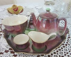 Royal Winton Purple Green Lustre Breakfast Teaset| Vintage | eBay Kitchenware, Tableware, Breakfast Set, China Tea Sets, Tea Pot Set, Teapots, Luster, Cup And Saucer, Tea Time
