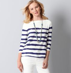 Wavy Stripe Cotton A-Line Boatneck Top from The Loft