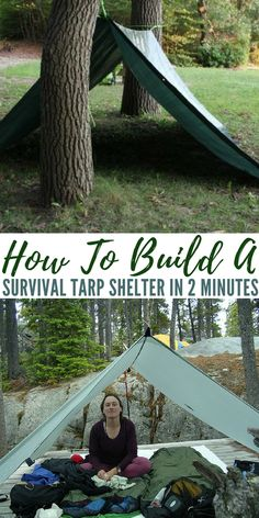 How To Build A Survival Tarp Shelter In 2 Minutes. A tarp may be all you have for a shelter. See how in 2 minuets you can have a survival shelter built. Survival Shelter, Survival Tools, Camping Survival, Survival Prepping, Camping Hacks, Survival Supplies, Survival Equipment, Emergency Preparedness, Survival Items