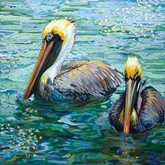 Pelicans, Swans of Zurich & Floridian Birds Bird Painting Acrylic, Watercolor Art, Pelican Art, Water Artists, Louisiana Art, Bird Artwork, Coastal Art, Wildlife Art, Beach Art