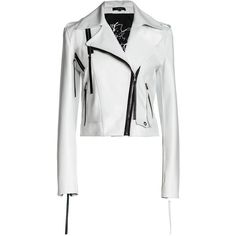 White soft leather jacket with notched lapels, front asymmetrical zipper closure and long sleeves with zipper cuffs. Contrast black zippers at front and back, white embroidery on the lining inside. Leather Pants, Leather Jackets, Biker Jackets, White Motorcycle, Motorcycle Wedding, Embroidered Leather Jacket, Guy, Ootd, White Leather