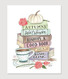 """""""Autumn's sweet whisper requires a good book and a warm drink."""" - """"Autumn's sweet whisper requires a good book and a warm drink. I Love Books, Good Books, Book And Coffee, Lily And Val, Happy Fall Y'all, Book Nerd, Fall Halloween, Book Quotes, Fall Quotes"""
