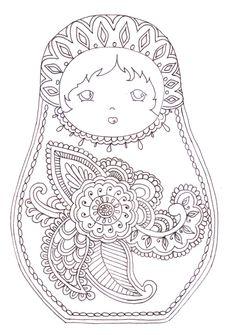 matryoshka | Matryoshka - coloriage | Printables