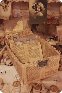 ★ Schlaflos in NRW ★: Seelentruhe ...  cover a photo box with book pages. Love this idea!