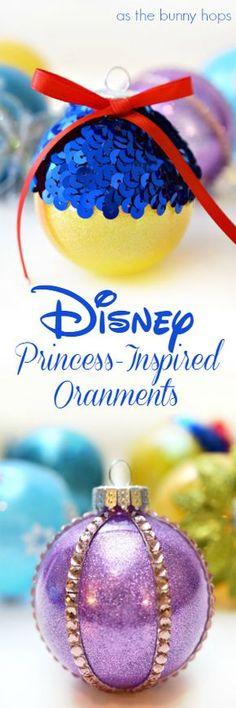 Disney Princess-Inspired Christmas Ornaments. Includes Snow White, Cinderella, Tiana, Elsa and Rapunzel!