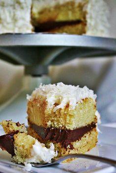 Coconut Layer Cake with Swiss Meringue Buttercream and Dark Chocolate Ganache Filling